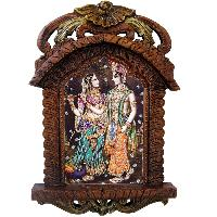 Radha Krishna Playing Flute Wooden Jharokha Gift 437
