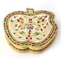 Stylish Apple Design Golden Meenakari Dryfruit Box