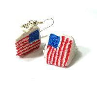 American Flag Cake Slice Dangle Earrings
