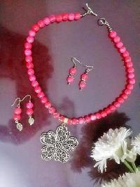 Semi Precious Pink Jade Stone Necklace Set