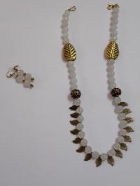 Semi Precious White Jade Stone Necklace Set
