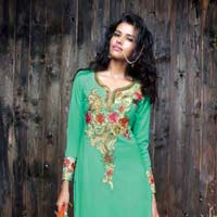 Embroidered Auqa Super Straight Suit