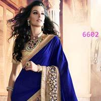 Classic Looking Net Blue Ethnic Saree