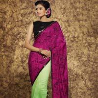 Parrot Green & Pink Color Viscose Fabric Saree-101
