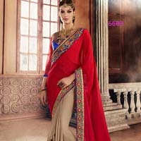 Red  Beige Georgete Embroidered Half N Half Saree