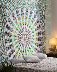 Boho Indian Floral Tribal Mandala Tapestry Wall Hanging