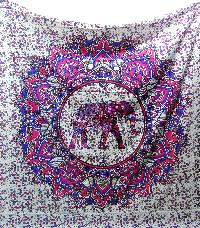 Elephant Indian Mandala Cotton Tapestry Bedspread Wall Hanging