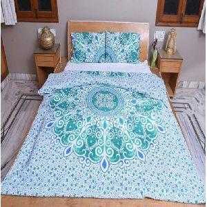 Floral Green Cotton Duvet Cover