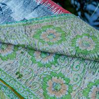Handmade Flower Print Twin Kantha Quilt