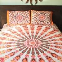 Hippy indian Mandala Orange Peacock Print Duvet Cover