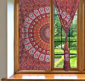 Hippy Red Indian Mandala Print Wall Curtain Cotton Window Curtain