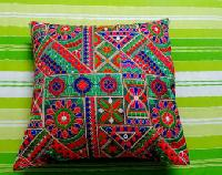 Indian Embroidered Patchwork Cotton Cushion Cover