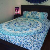 Indian Mandala Blue Ombre Print Duvet Cover