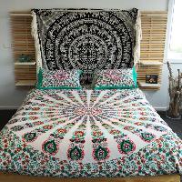 Pink Peacock print Indian Mandala Duvet Cover