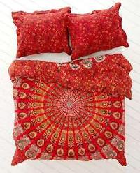 Red Peacock Print Indian Mandala Duvet Cover