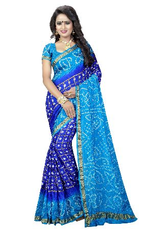 Silk Check Bandhani Saree