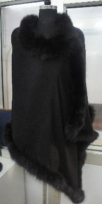 Black Silk Pashmina Wool With Four Side Fur Genuine Fur Fur Pashmina Shawls 2017