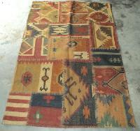 Patchwork Jute Wool Kilim