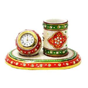 Marble Decorative Watch and Pen Stand Set