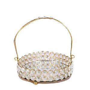 Brass And Crystal Basket With Handle