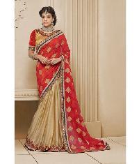 Designer Embroidery Saree & Designer Row Silk Blouse