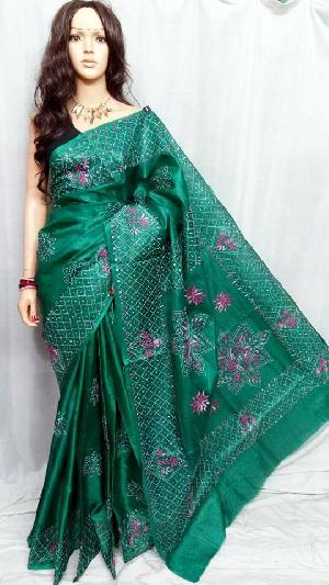 Kantha Embroidered Bhagalpuri Silk Sarees
