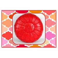 Red Marrakech Handcrafted Leather Pouf