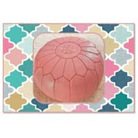 Rose Pink Marrakech Handcrafted Leather Pouf