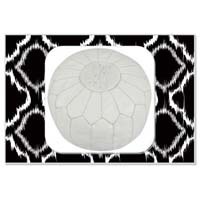 White Marrakech Handcrafted Leather Pouf