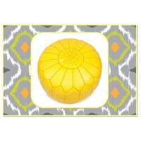 Lemon Yellow Marrakech Handcrafted Leather Pouf