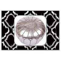 Silver Marrakech Metallic Handcrafted Leather Pouf