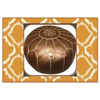Copper Colour Marrakech Metallic Handcrafted Leather Pouf