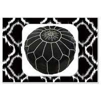 Stitched Marrakech Handcrafted Leather Pouf