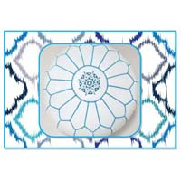 White Aqua Marrakech Handcrafted Leather Pouf