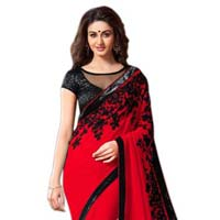 Georgette Floral Embroidery Red Saree