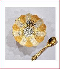 Single Designer Bowl + Spoon (Gold)