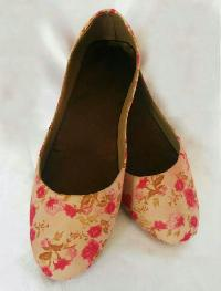 Pink Flower Printed Belly Shoes
