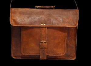 "Handmade Vintage Leather Briefcase For Men & Women. 12"" X 16"" X 4.5"""