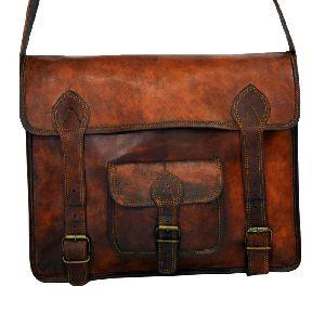 "Vintage Leather Laptop Bag Or Briefcase For Men 11"" X 15"" X 4"""