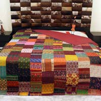 Kantha Silk Patchwork Bed Sheet