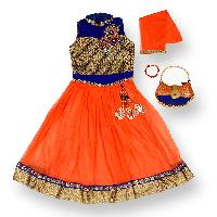 Party Ethnic Gown Dress for Girls with Bracelet and Purse