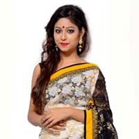 Black  And White Fancy Net Saree