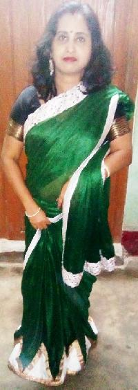Bottle Green And Silver Contrast Synthetic Saree