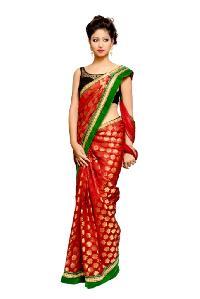 Maroon Net With Chandri Silk Saree