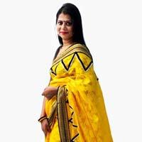 Yellow Cotton Brasoo Saree