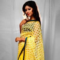 Yellow Traditional Bua with Fancy Net Saree