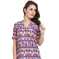 Women Egyptian Print  Sleeve  34th Sleeves  Ladies Tops