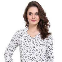 Women  Musical Print  V-neck 34sleeve  Ladies Shirt