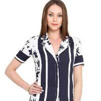 Women Shirt V Neck Carribean Print Half Sleeve Polyester Top