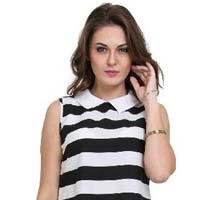 Women  Strip Print  Peterpan Collar Sleeveless  Ladies Tops